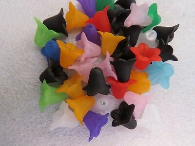 20 - 500 Lucite Skirt Flower Beads Frosted Caps For Angel Fairy Charms 18 x 14mm