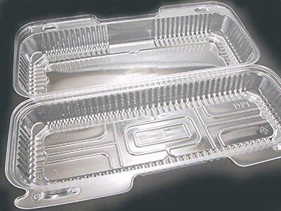 """12"""" x 5"""" x 3"""" Clear Hinged Lid Plastic Container 125/Pack"""