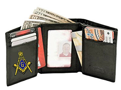 Masonic Wallet - Trifold Style - Embroidered Logo - New - Quality Leather