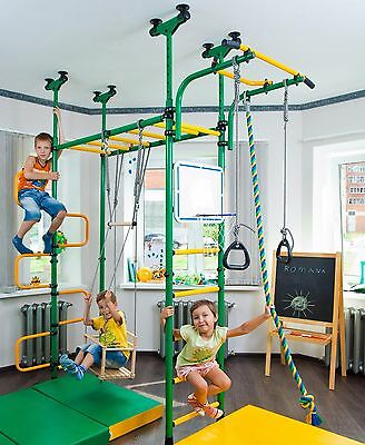 Kid's Home Gym Swedish Wall Playground Set School with Swing and other - PEGAS