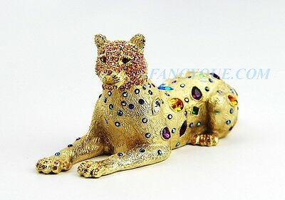 "Jay Strongwater Leopard Shamar 18K Gold Finish Large Swarovski 6"" Long New"