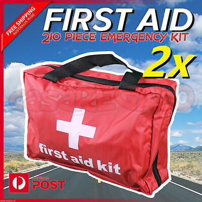 2x 210 piece First Aid Kit Family Supplies Survival Medical Workplace Travel Set