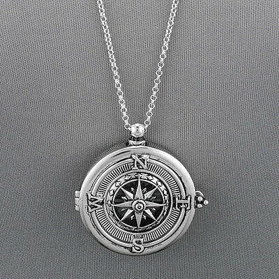 Long silver chain unique compass magnifying glass pendant necklace long silver chain unique compass magnifying glass pendant necklace aloadofball Choice Image