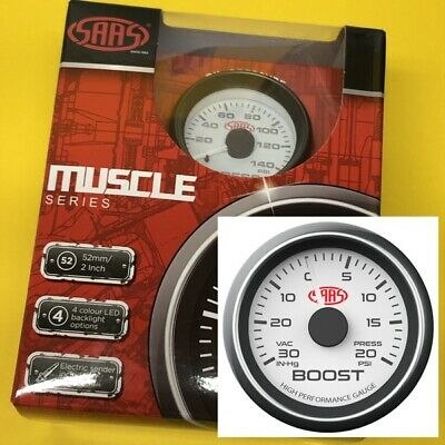 """52mm Turbo boost/vac gauge 20 PSi Multi colour display SAAS 2"""" white face"""