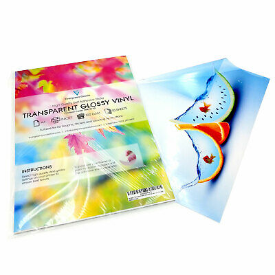 A4 Clear Transparent VINYL INKJET Print Glossy Self Adhesive Graphics Signs