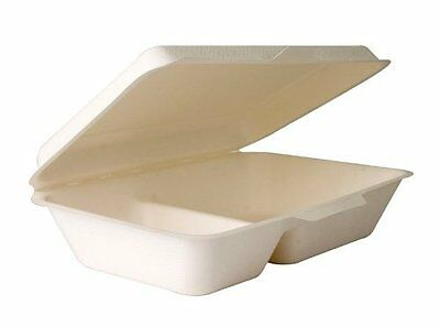 "Eco-Products EP-B002 9""x 6"" x 2.5"" 2-Compartment Sugarcane Clamshell Food Box of"