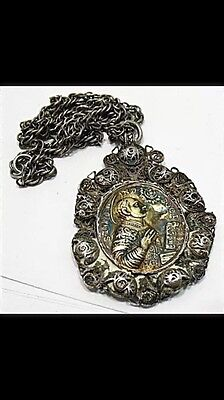 Genuine 17Th Century Silver Religious Icon On Chain 14 Inches Long