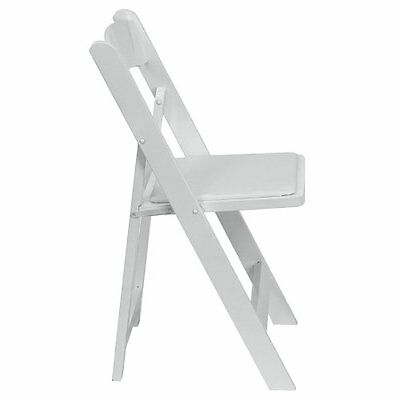 White Color Wood Folding Chair with White Vinyl Padded Seat - Wedding Chair