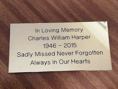"""Brass Polished Engraved Plaque Bench Plate  Memorial 4"""" X 2"""" 100x50mm No Holes"""