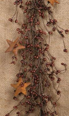 "Pip Berry Garland 42"" Long With Burgundy Berries And Tin Stars"