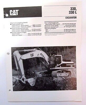 Caterpillar 330L Hydraulic Excavator Original Sales/specification Brochure