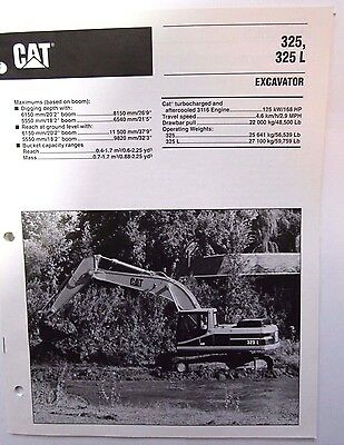 Caterpillar 325L Hydraulic Excavator Original Sales/specification Brochure
