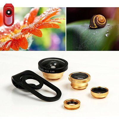 Universal 4 in1 Fisheye + Wide Angle + Macro Camera Clip-on Lens for Smart Phone