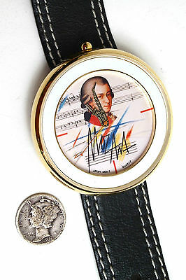 Mozart with Saxophone/ Novelty Wrist Watch leather strap Collectable/ Excellent