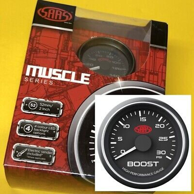 "52mm Turbo boost gauge diesel 0-30 PSi Multi colour display SAAS 2"" black face"