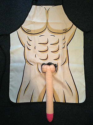 Sexy Naked Man 3D Long Penis Nude Kitchen BBQ Apron Fun Party Novelty Costume