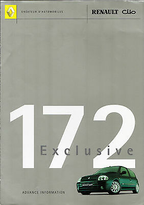 Renault Sport Clio 172 Exclusive Limited Edition 2000-01 UK Market Brochure