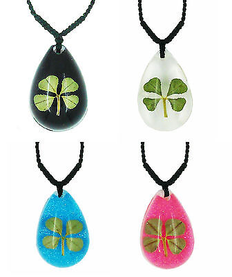 Celtic Lucky Real 4 Four Leaf Clover Good Luck Pendant with Gift Box & Guarantee