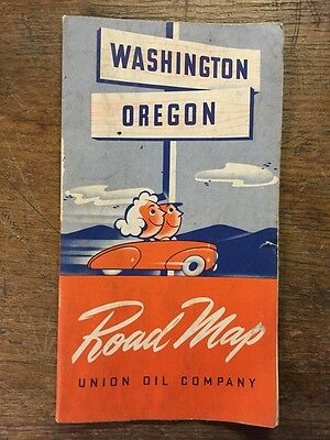 Early 1940's Washington Oregon Road Map Union Oil 76 Gas And Oil Grayson Deco