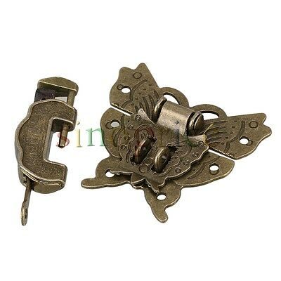 Zinc Alloy Antique Butterfly Buckle Jewelry Box Padlock Hasp With Lock / Key