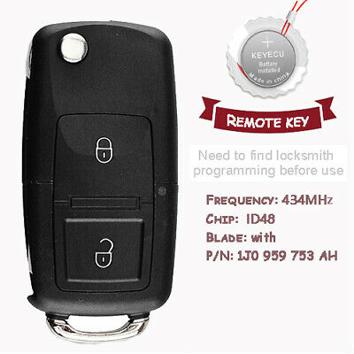 Remote Car Key 3 buttons 433MHz ID48 for VW Volkswagen Seat Skoda 1J0 959 753 AH