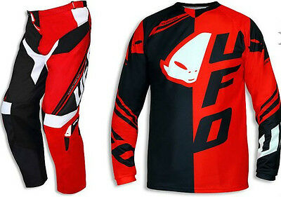 Completo Ufo Mx Collection Cluster Rosso Nero 2016 Taglia 52 E Xl Cross Enduro