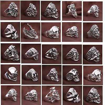 Wholesale Bulk Lots 30pcs Mixed Bright Men's Skull Punk Style Biker Rings