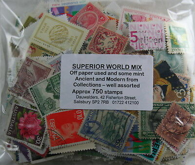 Superior World  Mix. Off paper used , some mint, ancient and modern.