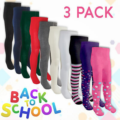 3 Pairs Childrens Girls School Tights Pattern Plain Design Knitted Cotton Rich
