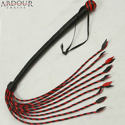 18 Inches Whip & 18 Inches Flogger Tails Genuine & Real Leather Red & Black