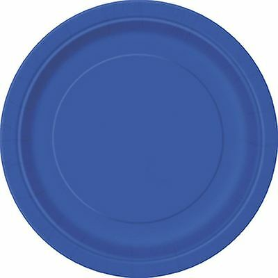 16 x PLAIN ROYAL BLUE 9 INCHES ROUND PAPER PLATES NEW YEAR TABLEWEAR CATERING
