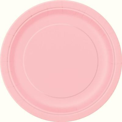 "16 x PLAIN PASTEL PINK 9"" ROUND PAPER PLATES NEW YEAR BBQ BIRTHDAY CATERING"