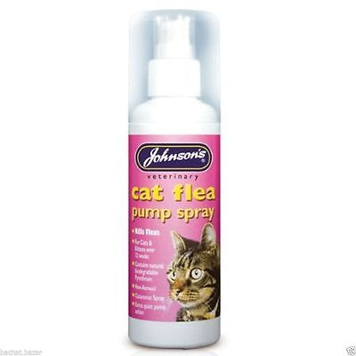 Johnsons Cat Flea Pump Spray 100ml - Vet Flea Treatment Killer Remover