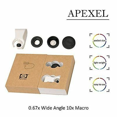 Pro quality 2in1 Clip on 0.67x Wide Angle + 10x Macro Camera Lens Mobile Phone