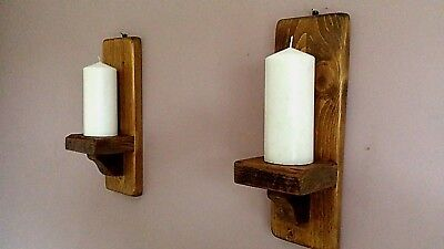 Pair Of 37Cm Rustic Wood Handmade Wall Sconce / Candle Holders