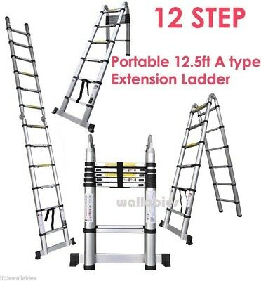 12.5ft Aluminum Telescoping Telescopic Extension Tall Multi Purpose Ladder