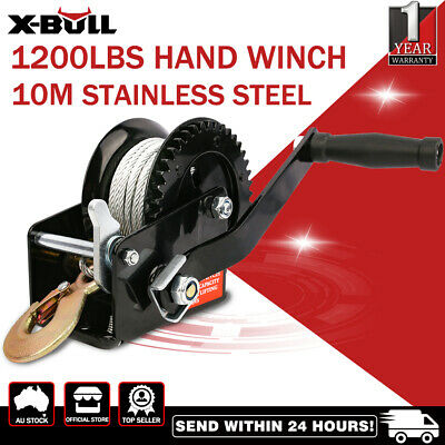 2500LBS/1136KGS Hand Winch Steel Cable/4WD Boat Trailer Manual Winch/2-Speed