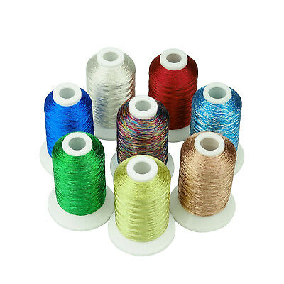 SIMTHREAD Metallic Embroidery Machine Thread 8 Colors for Christmas, 550Yds Each