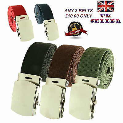 Unisex 30mm/40mm Webbing Casual Canvas Military Plain Buckle Belt UK Seller