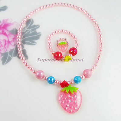 Kid Girls Jewellery Set Strawberry Plastic Colorful Pearl Necklace Bracelet Ring