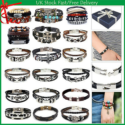 Men Women Real Leather Braided Wristband Bracelet Stainless Steel Clasp+Gift Box