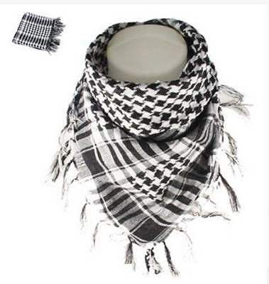 Lightweight Military Arab Tactical Army Shemagh KeffIyeh BLACK and WHITE Scarf
