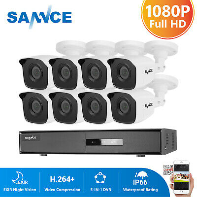 SANNCE 8CH 1080N 5in1 DVR In/Outdoor IR Home Surveillance Security Camera System