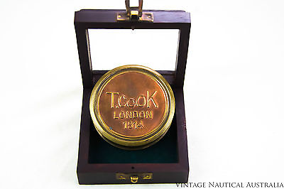 Compass - T.Cook London 1914 Robert Frost Poem Engraved Vintage (Rosewood Box)