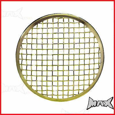"7"" Brass Chrome Mesh Headlight Stone Cover for Triumph custom project motorcycle"