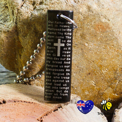 Christian Religious lords Prayer 10 Commandments Necklace