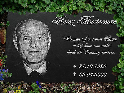 PERSONALISED  MEMORIAL Slate stone GRAVE PLAQUE with LASER - Photoengraving