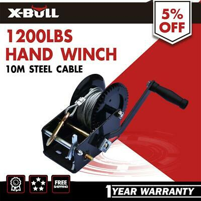 1200LBS Cable Hand Winch Manual Steel Rope Winch Boat Trailer Car Mount 10M