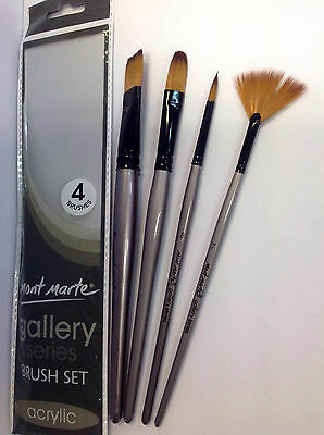 4pc Mont Marte  Acrylic Brush Craft Art Painting Round Flat Filbert Large Fan