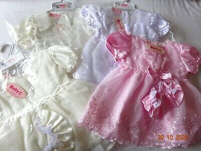 Baby Girl Christening Bridesmaid Party Satin Dress/Hat/Knickers,0-3-6-9 months